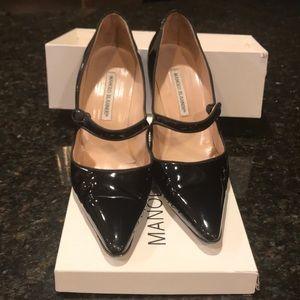 Manolo Blahnik Black Patent Leather MaryJane